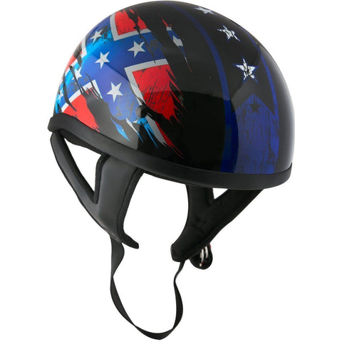 Image of Outlaw T68 'Rebel Flag' Black Glossy Motorcycle Skull Cap Half Helmet with Outlaw 50 'Nemesis' Vintage Face Mask with Detachable Motorcycle Goggles