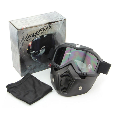 Outlaw T68 DOT Glossy White Half Helmet with Outlaw 50 'Nemesis' Vintage Face Mask with Detachable Motorcycle Goggles