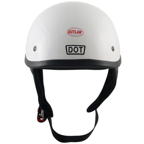 Image of Outlaw T68 DOT Glossy White Half Helmet with Outlaw 50 'Nemesis' Vintage Face Mask with Detachable Motorcycle Goggles