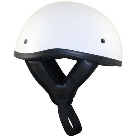 Image of Outlaw T68 DOT White Glossy Motorcycle Skull Cap Half Helmet