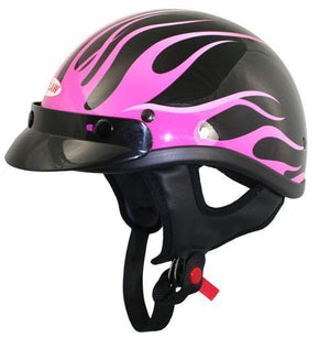 Outlaw T70 DOT Black Pink Flames Half Helmet With Visor