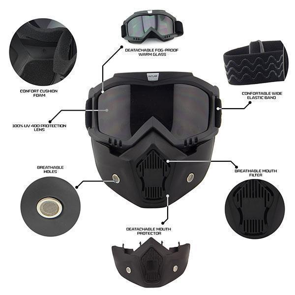 Outlaw T70 DOT Flat Black Half Helmet with Outlaw 50 'Nemesis' Vintage Face Mask with Detachable Motorcycle Goggles