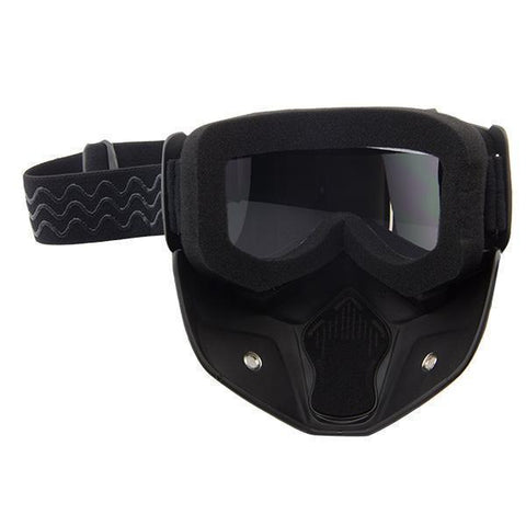 Image of Outlaw T70 DOT Flat Black Half Helmet with Outlaw 50 'Nemesis' Vintage Face Mask with Detachable Motorcycle Goggles