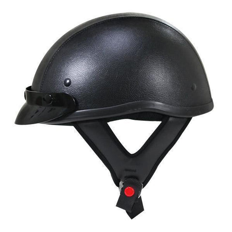 Outlaw T70 Dark Rider Black Leather Like Half Helmet with Snap Visor