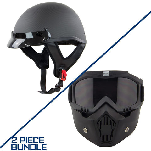 Outlaw T71 Carbon Flat Black Carbon-Fiber Ultra-Light Helmet with with Outlaw 50 'Nemesis' Vintage Face Mask