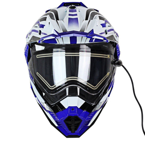 Image of Snow Master TX-27 White Blue DS Snowmobile Helmet