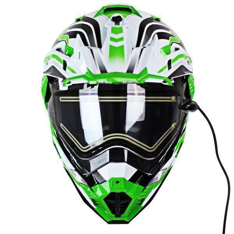 Snow Master TX-27 White Green DS Snowmobile Helmet