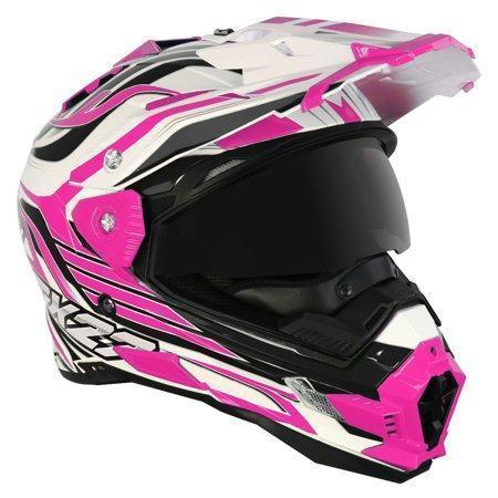 Image of Snow Master TX-27 White Pink DS Snowmobile Helmet