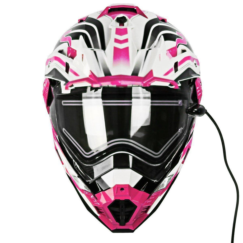 Snow Master TX-27 White Pink DS Snowmobile Helmet