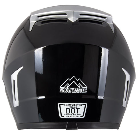 Image of Snow Master TX-45 Gloss Black Dual Sport Snowmobile Helmet