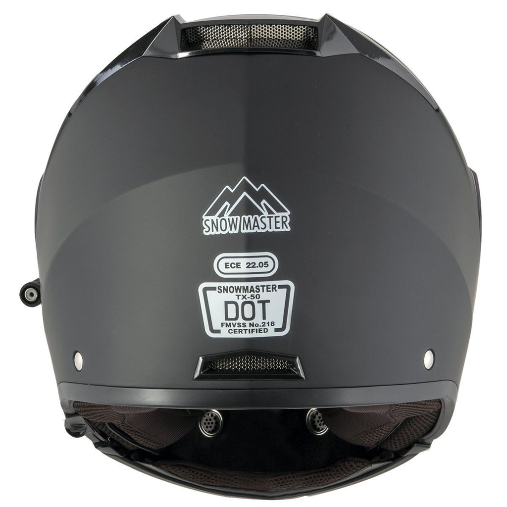 Snow Master TX-50 Flat Black Modular Dual Use Snowmobile and Street Helmet