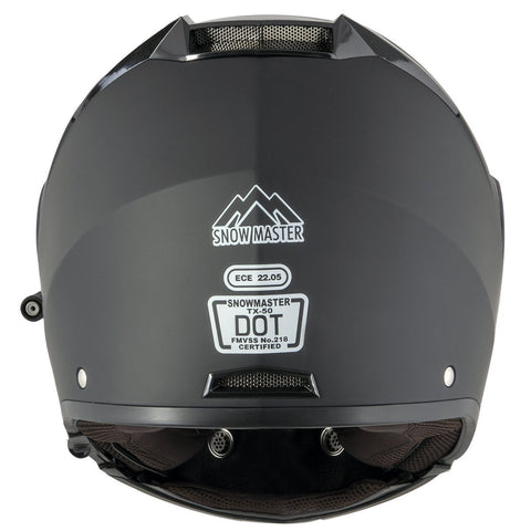 Image of Snow Master TX-50 Flat Black Modular Dual Use Snowmobile and Street Helmet