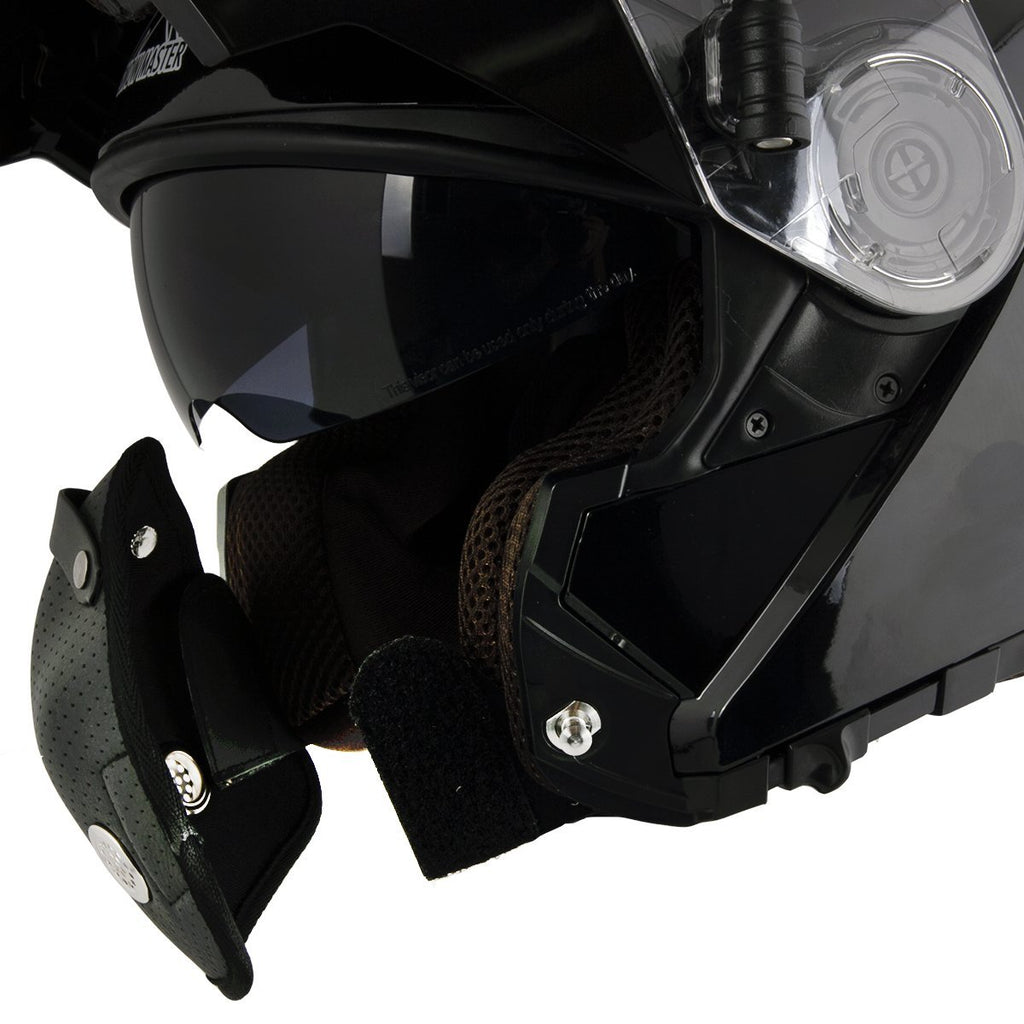 Snow Master TX-50 Glossy Black Modular Dual Use Snowmobile and Street Helmet