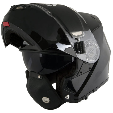 Image of Snow Master TX-50 Glossy Black Modular Dual Use Snowmobile and Street Helmet