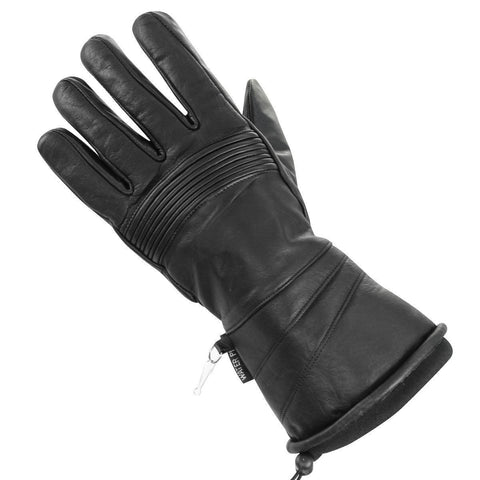 Xelement UK237 Women's Black Leather Gauntlet Style Waterproof Motorcycle Gloves