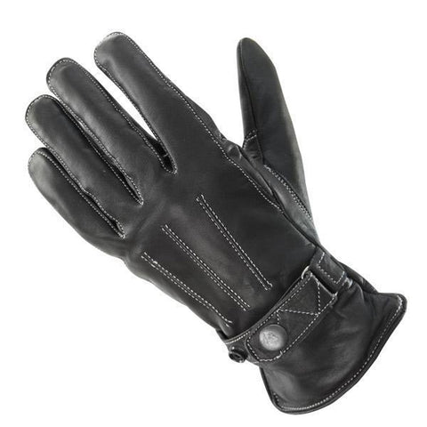 Image of Xelement UK491 Women's Black Classic Button Snap Leather Motorcycle Gloves