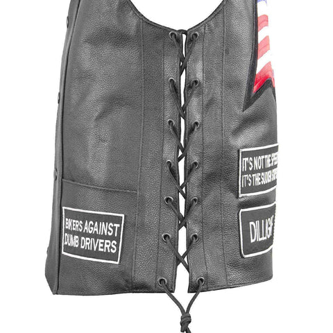 Image of Xelement VP9150 Men's Black Eagle Head and American Flag Leather Vest with Concealed Gun Pocket