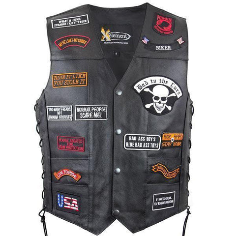 Image of Xelement VP9170 Men's Black Flying Eagle and American Flag Leather Vest with Concealed Gun Pocket