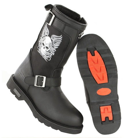 Image of Xelement X19405 Mens Black Tribal Skull Boots with Poron Insoles