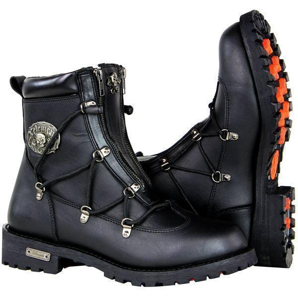 Xelement X93007 BLACK 'Flathead' Men's Black Performance Leather Boots