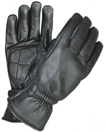 Xelement XG1409 Men's Black Premium Leather Riding Gloves with Gel Palms