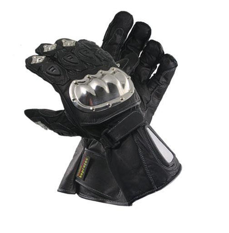 Xelement XG1470 Men's Black Naked Stainless Steel Premium Leather Padded Racing Gloves