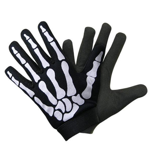Xelement XG148455 Men's Black Mechanical Textile Fabric Skeleton Hand Motorcycle Gloves