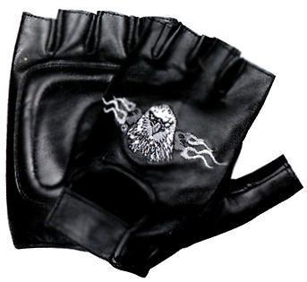 Xelement XG352 Men's Black Flaming Eagle Leather Fingerless Gloves