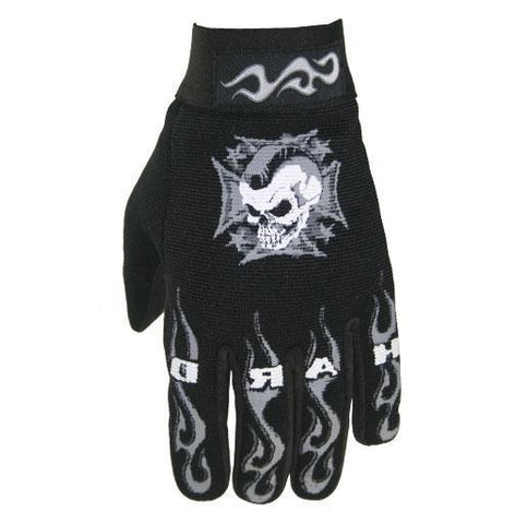Xelement XG44607 'Hardcore Mohawk' Men's Black Textile Mechanic Skull Gloves
