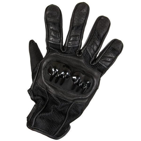 Xelement XG-7790 Men's Black Leather Padded Protective Racing Gloves