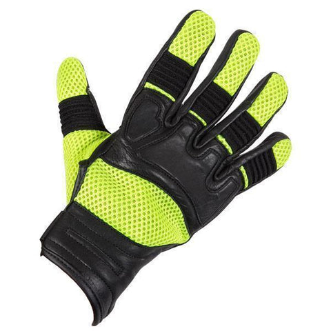 Image of Xelement XG-7799 Men's Black and High Viz  Leather and Textile Racing Gloves
