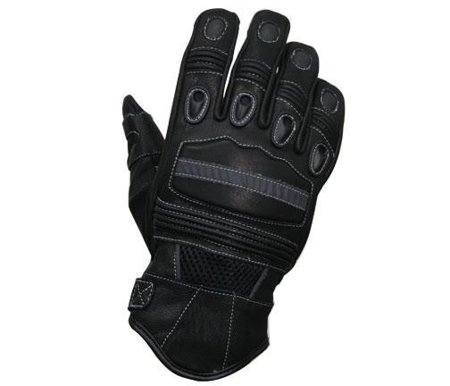 Xelement 'Advanced' Mens Leather Motorcycle Gloves with Reflective Knuckle Guards