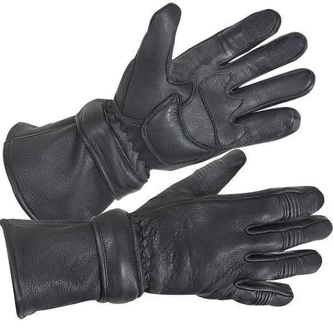 Xelement XG852 Men's Black Insulated Leather Deerskin Gauntlet Motorcycle Gloves