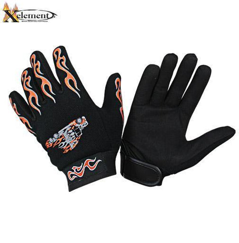 Xelement XG44609 Men's Black Textile Mechanical Fabric Flaming Fingers and Flaming Truck Gloves