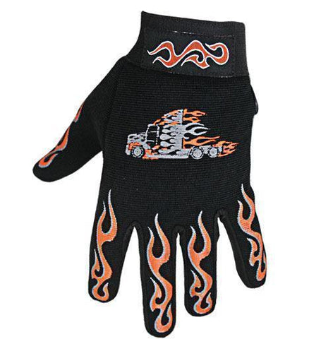 Image of Xelement XG44609 Men's Black Textile Mechanical Fabric Flaming Fingers and Flaming Truck Gloves
