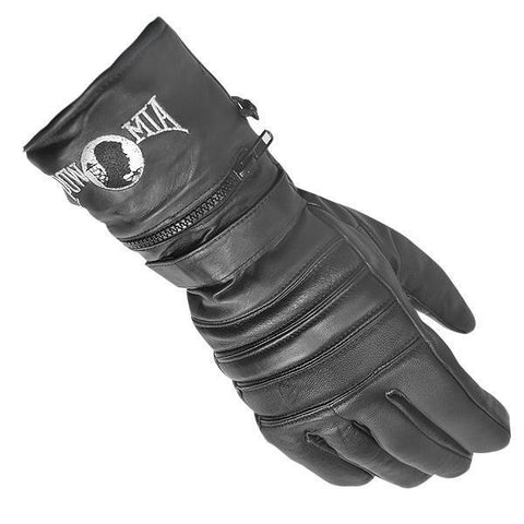 Xelement XG8220 Men's Black Insulated Leather Motorcycle Gauntlet Gloves