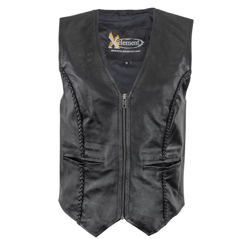 Image of Xelement XS1246Z Women's Black Braided Leather Motorcycle Vest