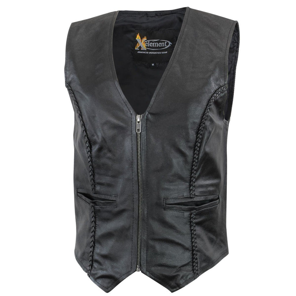 Xelement XS1246Z Women's Black Braided Leather Motorcycle Vest