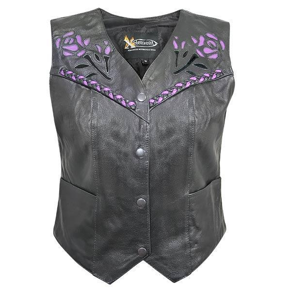 Xelement XS125077 Women's Black Leather Biker Vest with Rose Inlay and Braid