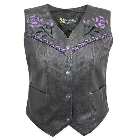 Image of Xelement XS125077 Women's Black Leather Biker Vest with Rose Inlay and Braid