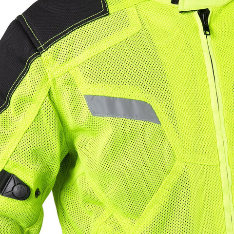 Xelement XS1792 'Yield' Men's High-Viz All Weather Mesh Level 3 CE Armored Motorcycle Jacket