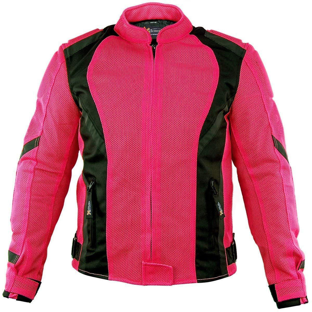 Xelement XS3044 'Impulse' Women's Black/Hot Pink Mesh Tri-Tex Armored Motorcycle Jacket