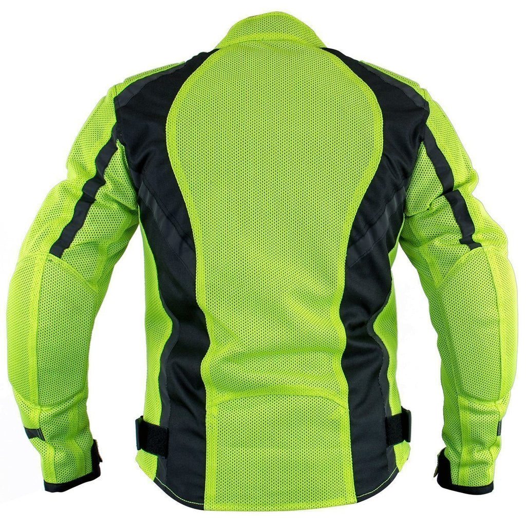 Xelement XS3055 'Impulse' Women's Black/Neon Green Mesh Tri-Tex Armored Motorcycle Jacket