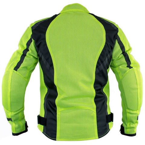 Image of Xelement XS3055 'Impulse' Women's Black/Neon Green Mesh Tri-Tex Armored Motorcycle Jacket