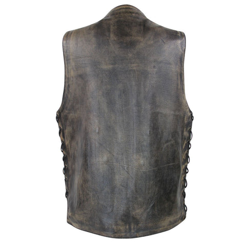 Image of Xelement XS3540 Men's Distressed Brown Ten Pocket Leather Vest with Gun Pocket