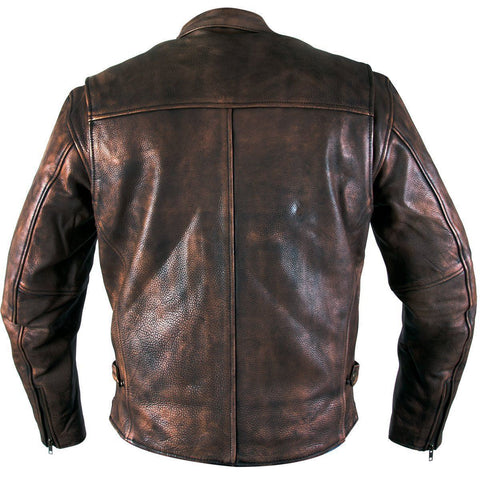 Image of Xelement XS-39155 Men's 'Uproar' Distress Brown Premium Leather Motorcycle Jacket with Gun Pocket