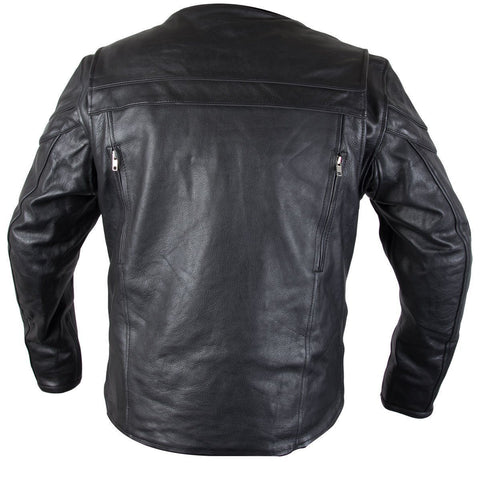 Image of Xelement XS-6225 'Speedster' Men's Black Armored Leather Racing Jacket