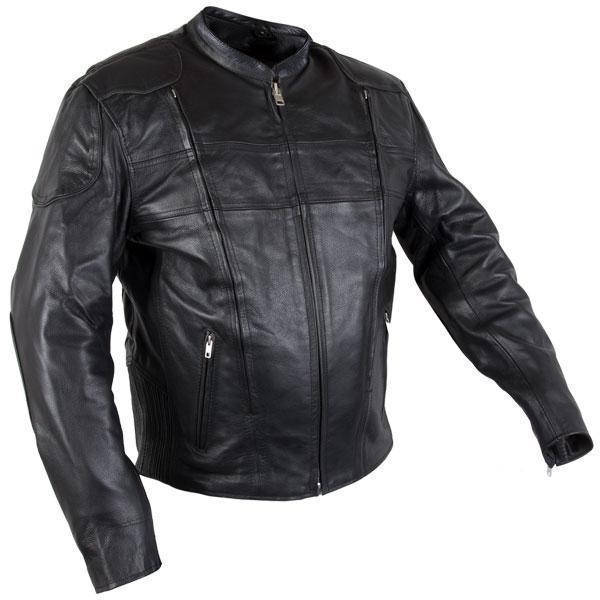 Xelement XS-6229 'Turbulent' Men's Black Armored Leather Motorcycle Jacket