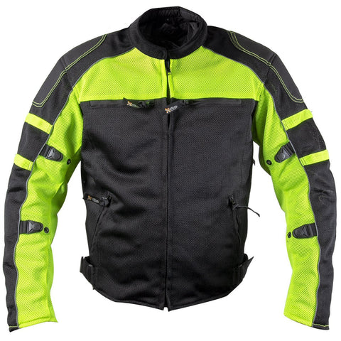 Xelement XS6550 'Fumes' Men's Black and High-Viz All Weather Mesh Level 3 CE Armored Motorcycle Jacket