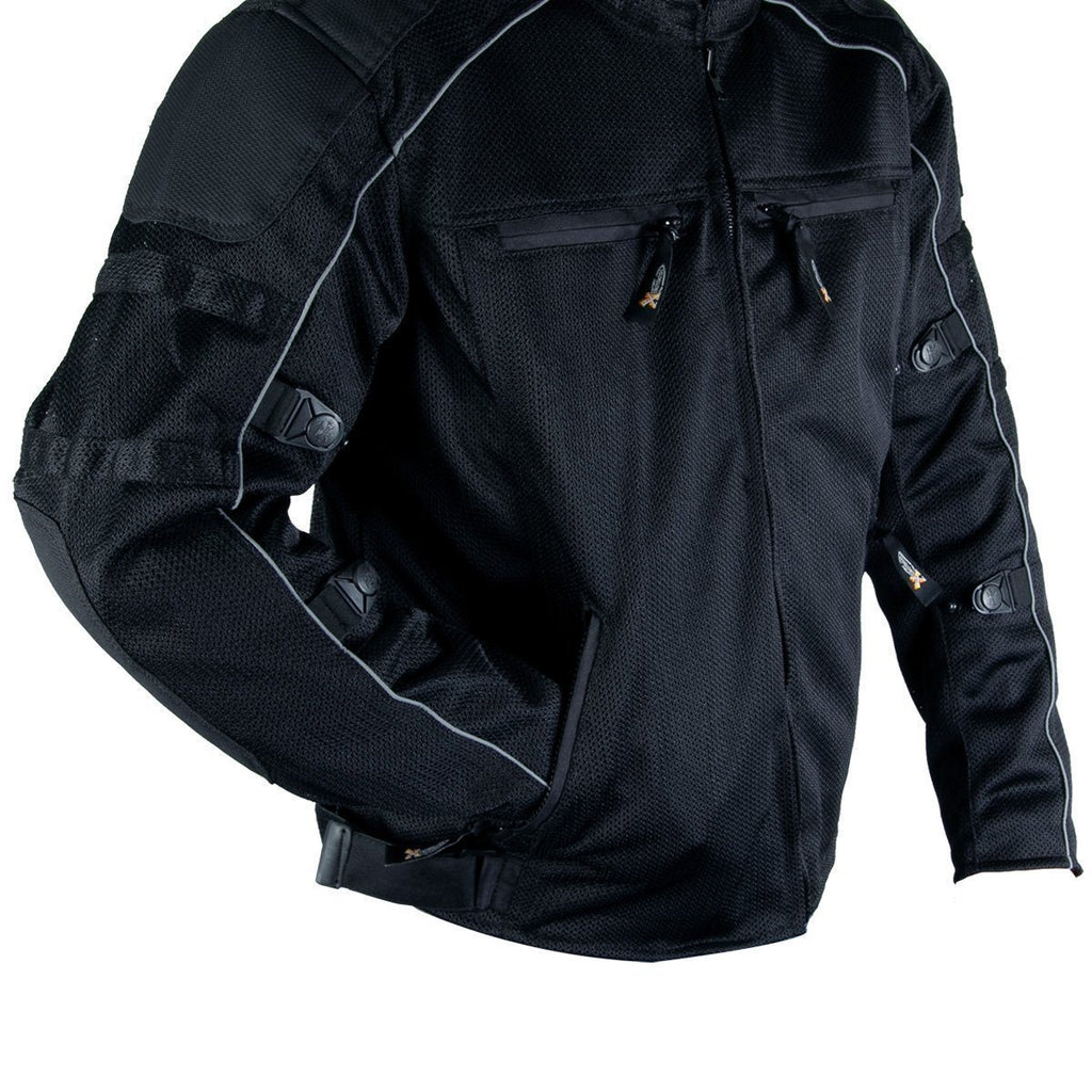 Xelement XS6557 'Troubled' Men's Black All Weather Mesh Level 3 CE Armored Motorcycle Jacket